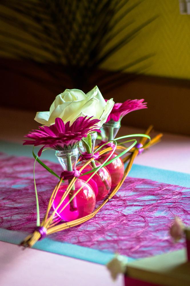 décoration florale pour un baptême
