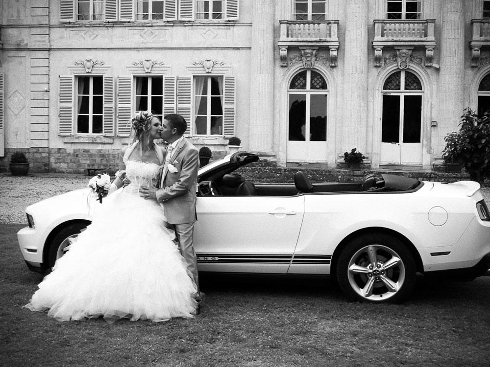 Photo des mariés au château de Saulty